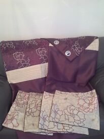 One pair of Dunelm curtains with four matching cushion covers.