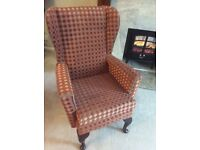 Newly reupholstered wing back chair