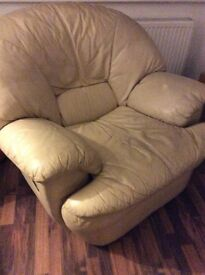 Cream leather reclining armchair