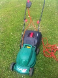 QUALCAST ELECTRIC MOWER WITH BOX & PLANTS