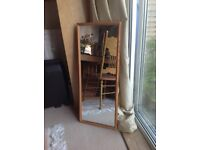 Full length Oak framed mirror with well made sturdy hook at the back
