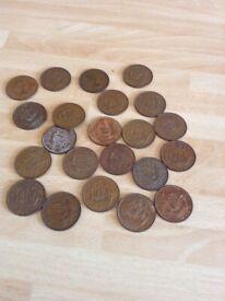 20 x 1960's British Queen Elizabeth 11 Halfpenny Coins