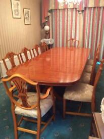 Bevan Funnell Reprodux Yew table & 10 wheatear design chairs - 8 chairs and 2carvers