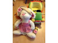 For sale kids baby toys , rocking horse and rocking car , big bear excellent condition