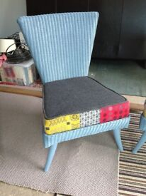 Lloyd Loom pair bedroom chairs, Melin Tregwynt