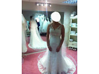 BNWT Wedding Dress from Phoenix Gowns, Item #T945, with Matching Cathedral Length, Lace-edged Veil