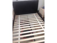 4'6 double bed base, and headboard, in brown. Had some repair work to base,
