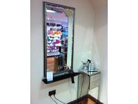 3 mirrors & shelving for product, ideal for beauty or salon use. pick up only.