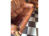 Leather sofa and chair with oak frame