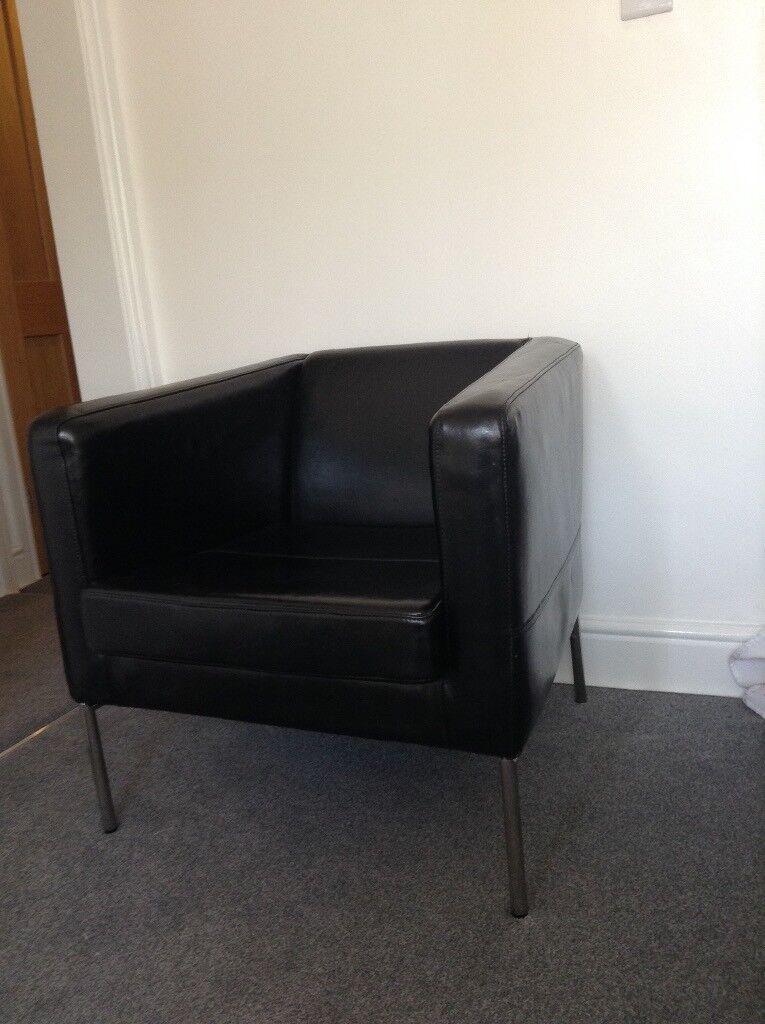 Ikea Klappsta Black Leather Armchair