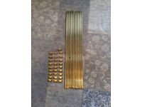 14 Brass stair rods with fittings