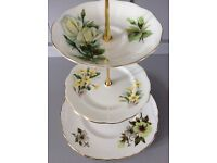 Mismatched Yellow Floral Bone China 3 Tier Cake Stand.
