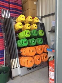 Kettlebells, dumbells, sandbells, steps, weights bench etc