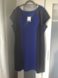 Ladies dress size 22. Royal blue/black. Very slimming style