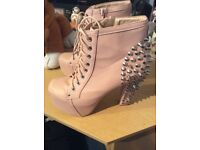 Pink studded size 6 boots