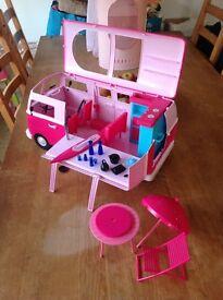 Dolls pink camper van and accessories