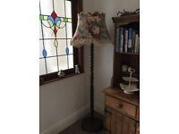 "BEAUTIFUL ORIGINAL MAHOGANY STANDARD LAMP WITH FLORAL TASSLED SHADE 67"" HIGH"