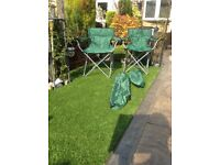 2 off brand new fold up outdoor chairs
