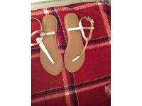 Accessorise gold leather strappey sandals. New & unworn. Size 6/39.