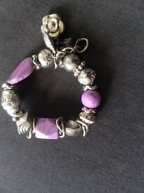 Lilac/Silver Charm Bracelet