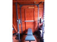 Power Cage (safe training) + Incline bench (sturdy) with Preacher Curl pad