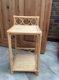 Bamboo Rattan Plant Stand Side Table