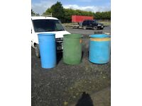 Large quantity of storage barrels