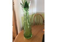 VINTAGE- EMERALD GREEN / CLEAR - CUT GLASS - VASE 17 INCH HEIGHT