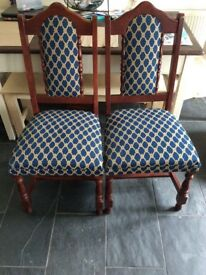 2 LOVELY PADDED BLUE CHAIRS