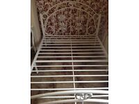 Double Bed Frame - Metal (White)