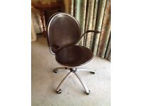 Office chair brown leather effect adjustable height excellent condition