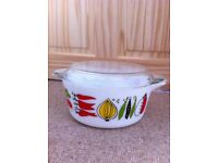 *Vintage Retro JAJ Pyrex Glass Lidded Casserole Dish Bowl Pot Harvest Vegetables Lid - BRISTOL*