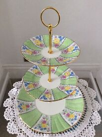 Royal Grafton Pretty Green Floral Bone China 3 Tier Cake Stand.