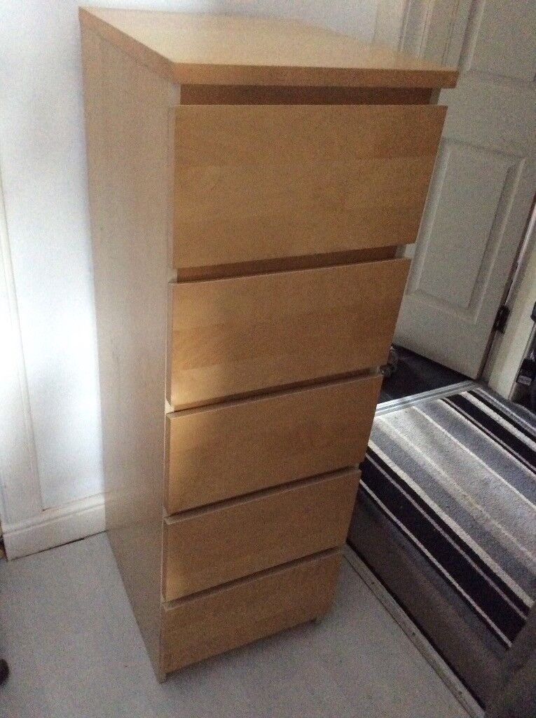 For Ikea Malm Tallboy Narrow High 5 Drawer Chest Of Drawers