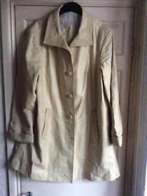 Genuine Vintage Pale Lemon Leather Coat Size 14