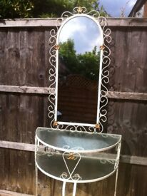 Original Vintage Hall Telephone Stand and Mirror