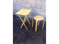 Small pine foldaway table and matching stool