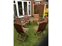 Hardwood Garden Chairs Set , four with arms ,two standard.