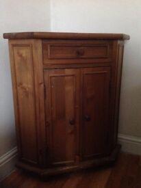 Wooden corner drinks/dvd storage cabinet