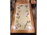 Pine Tiled top table & 4 chairs