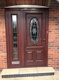 Solid wood front door & side panel, excellent condition, need quick sale