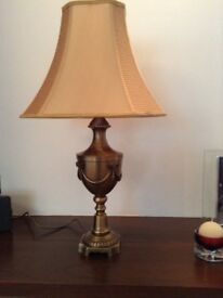 Heavy polished bronze cast table lamps ( Set of three )