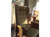 Chair- wooden green velvetwood bergere armchair