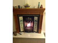 PIne fire surround, with marble hearth.