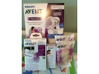 PHILIPS AVENT NATURAL MANUAL BREAST PUMP AND ACCESSORIES