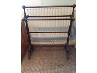 Antique dark wood towel rail and stand, approx 90 x 90 x25cm