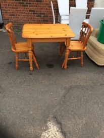 Pine dinning table and chairs delivery available