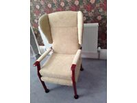 Upholstered wing backed chair