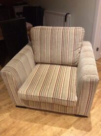 Large striped armchair