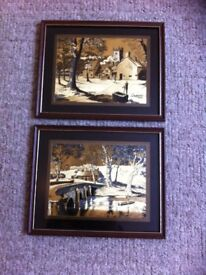 3 beautiful gold foil engraved pictures of English country scenes 27cmby 22cm